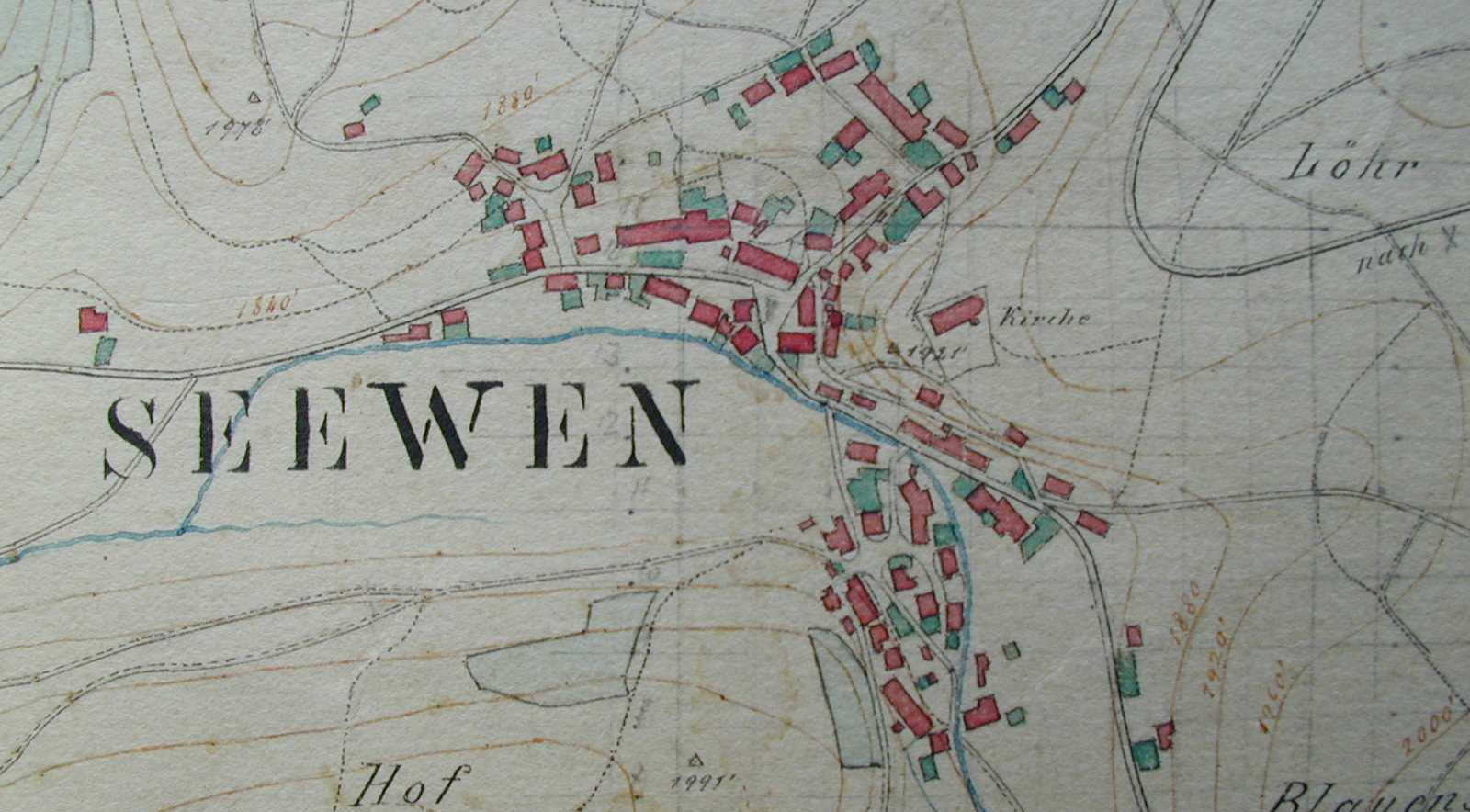 Dorfplan 1875 Kern